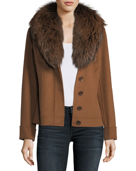 Luxury Double-Face Cashmere Short Jacket w/ Fox Fur Collar