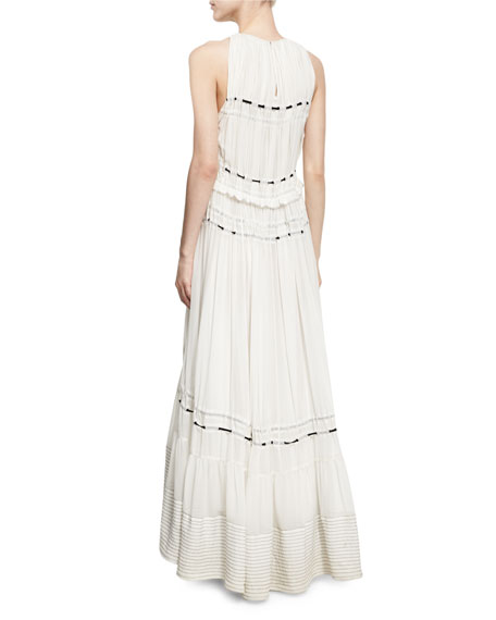 Pintuck Sleeveless Silk Gown Dress W/ Ties, White