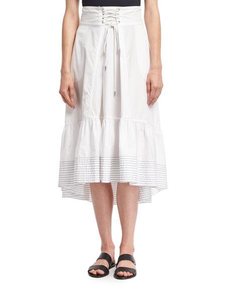 3.1 Phillip Lim Victorian Waist Poplin Midi Skirt,