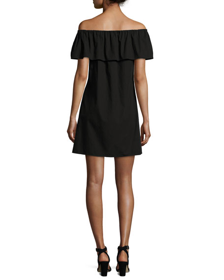 Off-the-Shoulder Mini Dress, Black