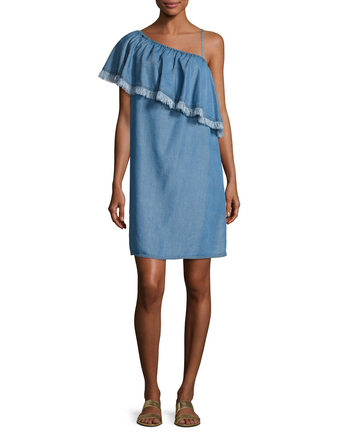 ad29bfcbff46 Splendid Indigo Asymmetric Fringed Chambray Dress