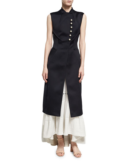 3.1 Phillip Lim Long Vest W/ Pearly Trim,