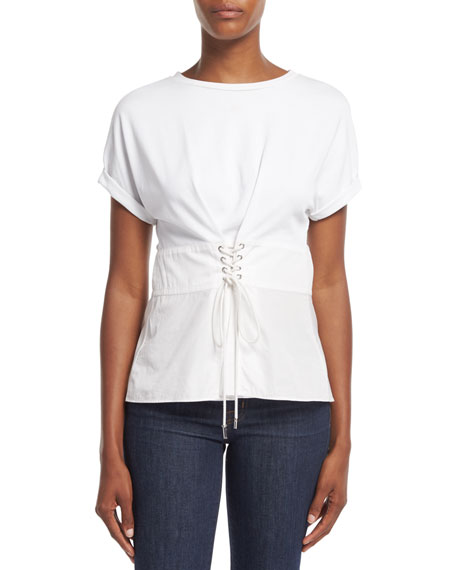 3.1 Phillip Lim Short-Sleeve W/ Corset Waist Top,