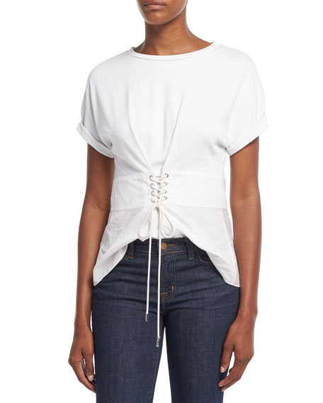 Short-Sleeve W/ Corset Waist Top, White
