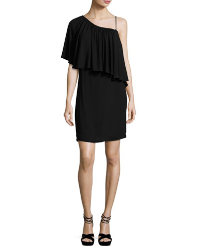 One-Shoulder Popover Mini Dress, Black
