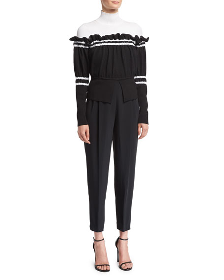 Tailored High-Waist Side-Button Pants, Black