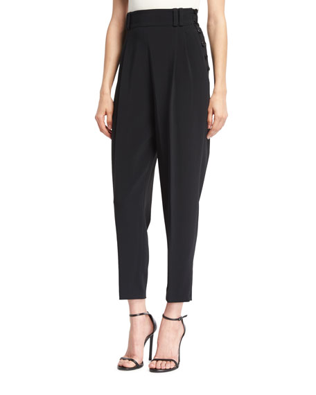 3.1 Phillip Lim Tailored High-Waist Side-Button Pants, Black