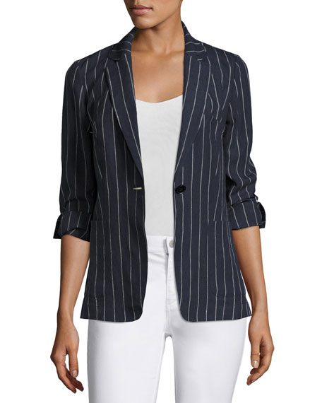 Alba Lago Striped Linen Blazer, Ink