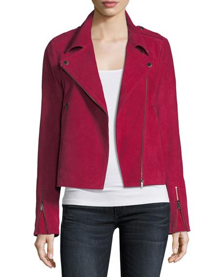 Zip-Front Suede Moto Jacket