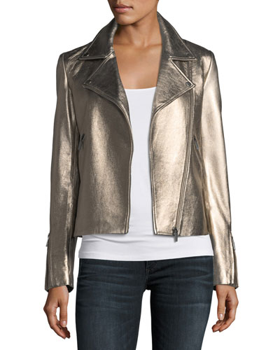 Zip-Front Metallic Leather Moto Jacket