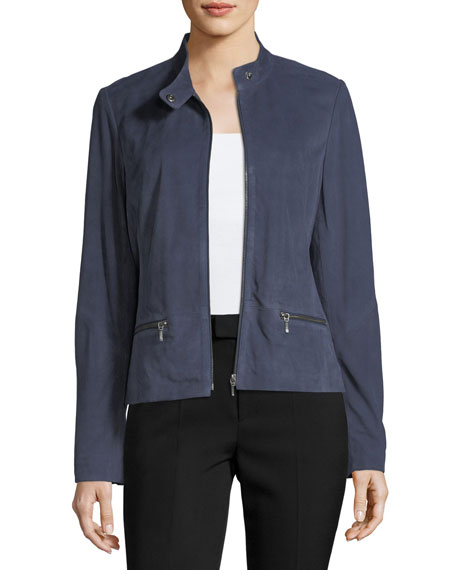Neiman Marcus Leather Collection Tab-Collar Suede Moto Jacket