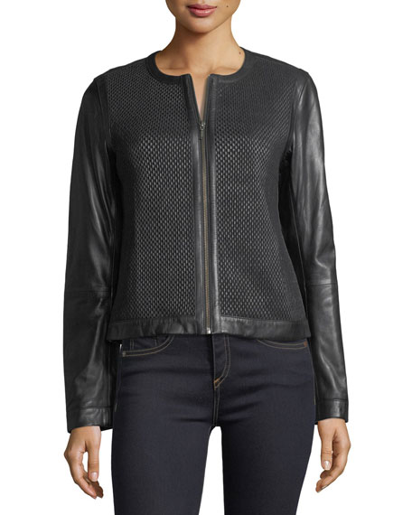 Center-Zip Leather Basketweave Jacket