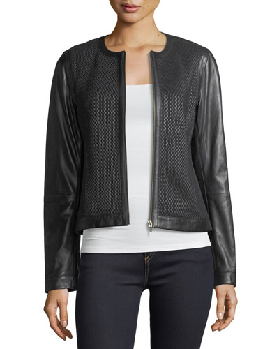 f095191d5b0b Neiman Marcus Leather Collection Center-Zip Leather Basketweave Jacket