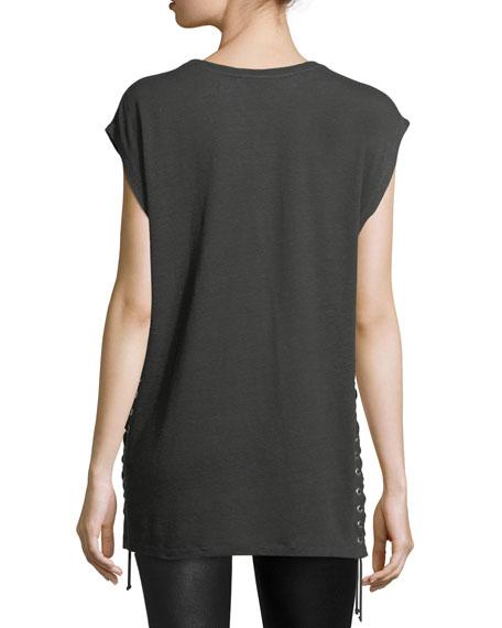Avys Crewneck Lace-Up Linen Top