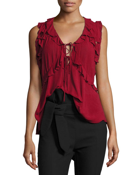 Azna Ruffled Tie-Front Blouse Top, Red