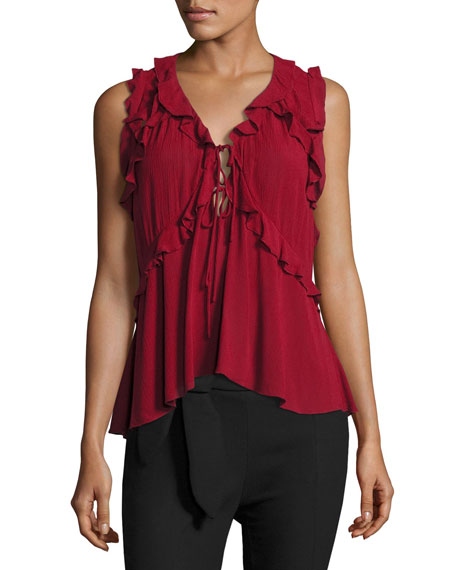 Iro Azna Ruffled Tie-Front Blouse Top, Red