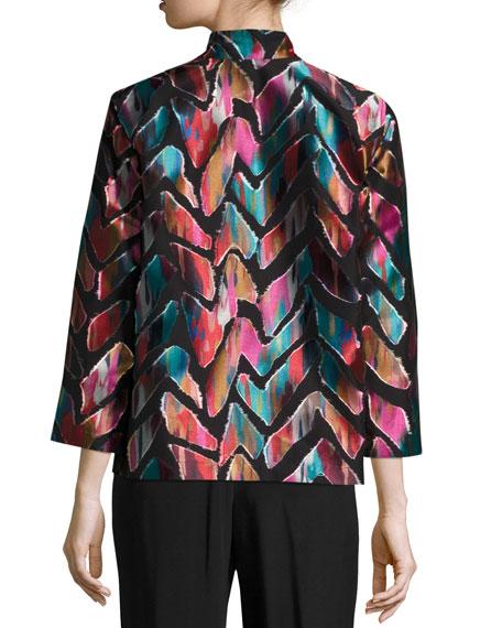 Vivid Dreams Jacquard Bracelet-Sleeve Jacket, Petite