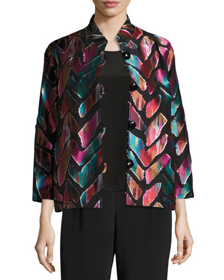 Caroline Rose Vivid Dreams Jacquard Bracelet-Sleeve Jacket,