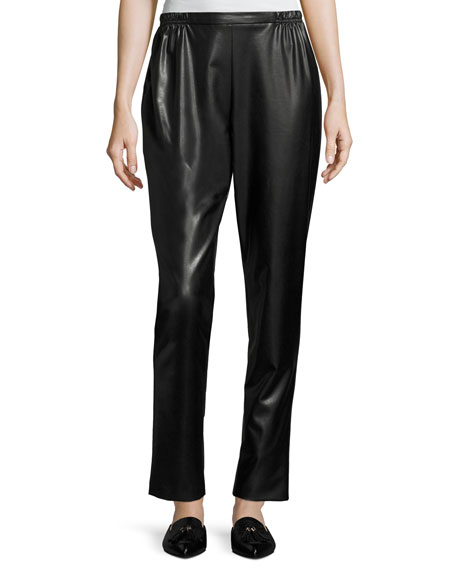Bi-Stretch Faux-Leather Pants, Black, Plus Size