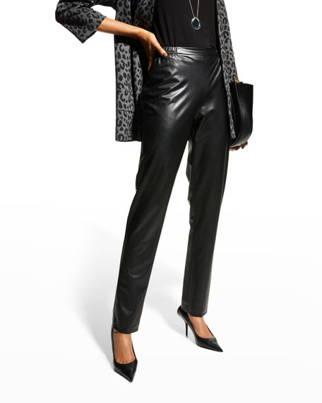 Caroline Rose Bi-Stretch Faux-Leather Pants, Black