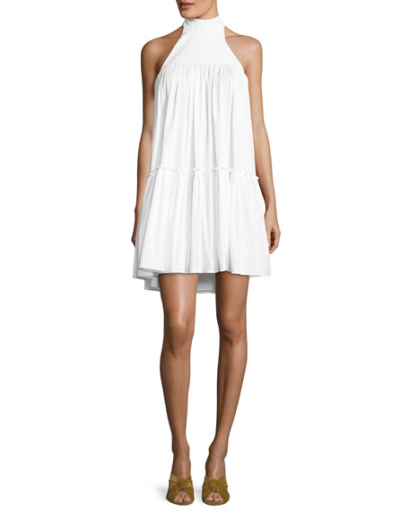 Caroline Constas Bo Halter Poplin Mini Dress