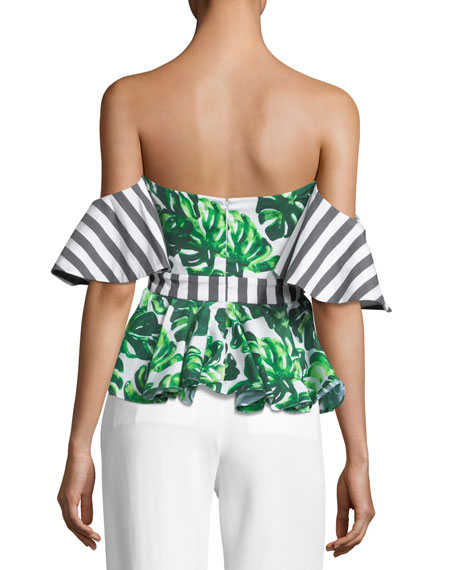 Irene Off-the-Shoulder Printed Peplum Top