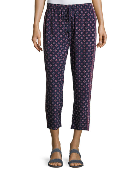 Joie Deidre Printed Drawstring Silk Pants, Blue
