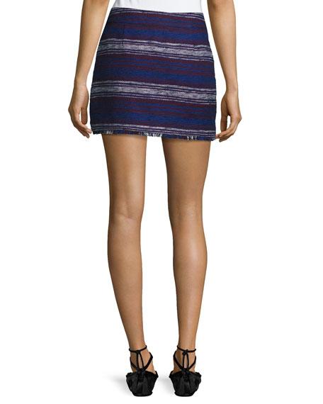 Genae Striped Tweed Fringe Skirt