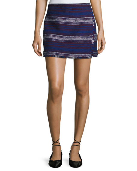 Joie Genae Striped Tweed Fringe Skirt