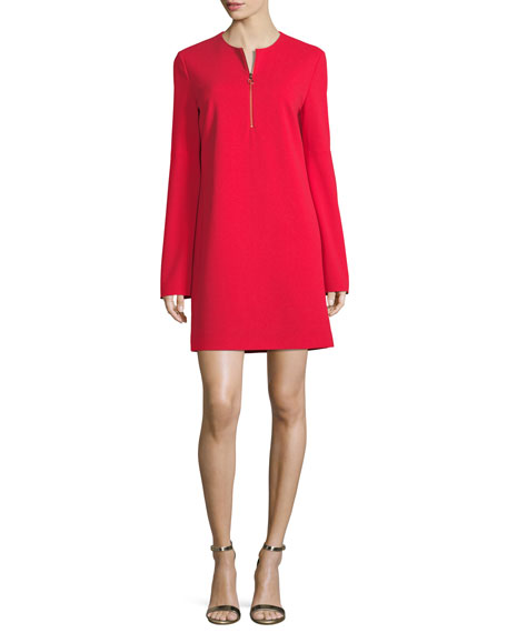 Tibi Long-Sleeve Structured Crepe Zip Dress