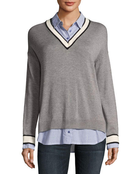 Joie Belva V-Neck Pullover Sweater, Gray