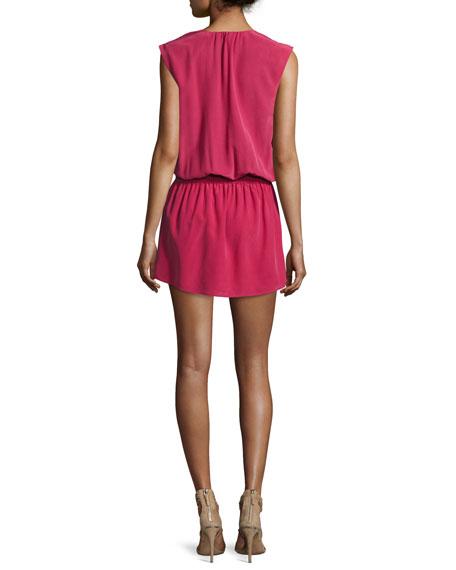 Aniya Sleeveless Silk Mini Dress, Red