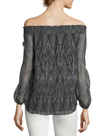 Azzedine D Off-the-Shoulder Silk Chiffon Top