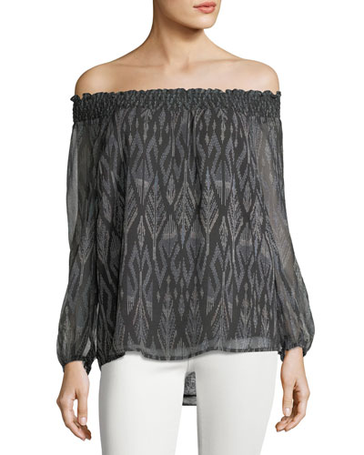 Azzedine D Off-the-Shoulder Silk Chiffon Top