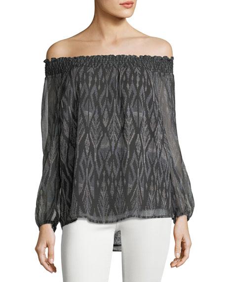 Joie Azzedine D Off-the-Shoulder Silk Chiffon Top