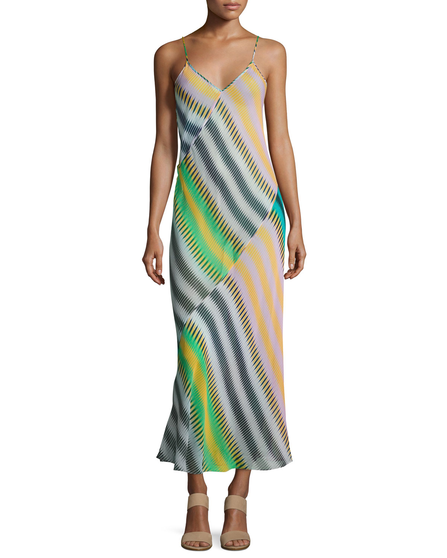 Diane von Furstenberg Chiffon Sleeveless Bias-Cut Slip Maxi Dress ...