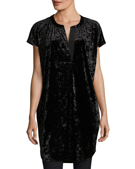 Joan Vass Crushed Stretch Velvet Relaxed Cap-Sleeve Tunic,