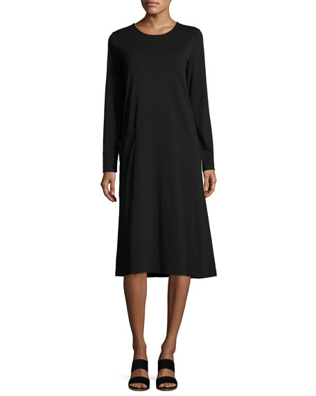 Joan Vass Long-Sleeve Crewneck Interlock Shift Dress, Petite