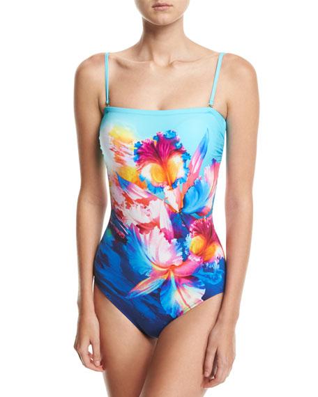 Hawaii Bandeau One-Piece Swimsuit, Blue Multi
