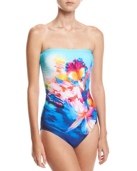 Gottex Hawaii Bandeau One-Piece Swimsuit, Blue Multi