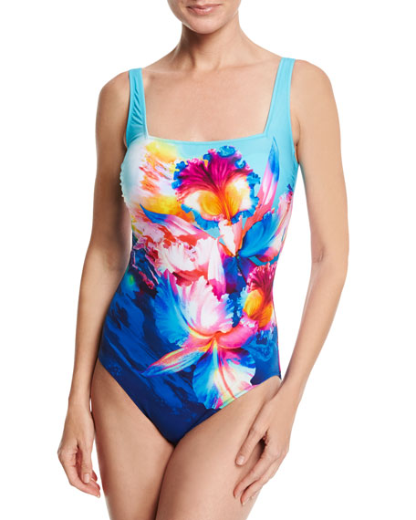 Gottex Hawaii Square-Neck One-Piece Swimsuit, Blue Multi