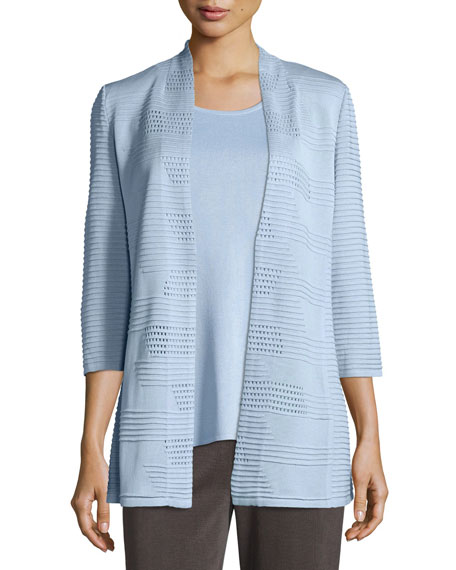 Textured 3/4-Sleeve Hook-Front Knit Jacket, Petite