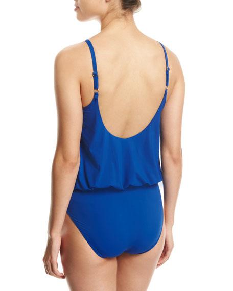 Lattice Surplice Blouson One-Piece Swimsuit, Blue