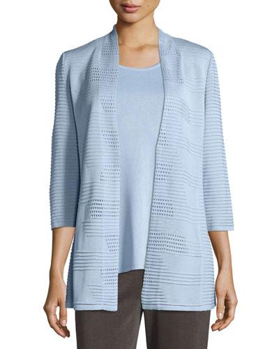 Textured 3/4-Sleeve Hook-Front Knit Jacket, Plus Size
