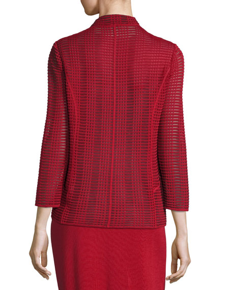 Subtly Sheer Textured Single-Button Jacket