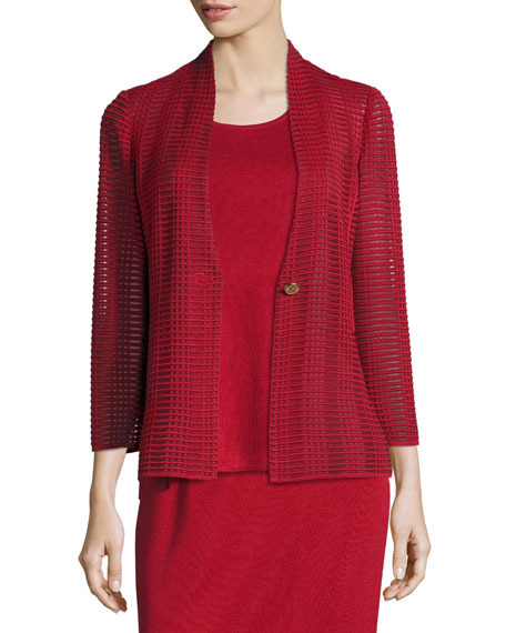 Misook Subtly Sheer Textured Single-Button Jacket and Matching