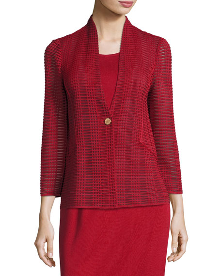 Subtly Sheer Textured Single-Button Jacket, Petite