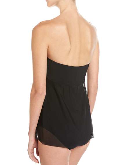 Tutti Frutti Bandeau One-Piece Swimsuit, Black