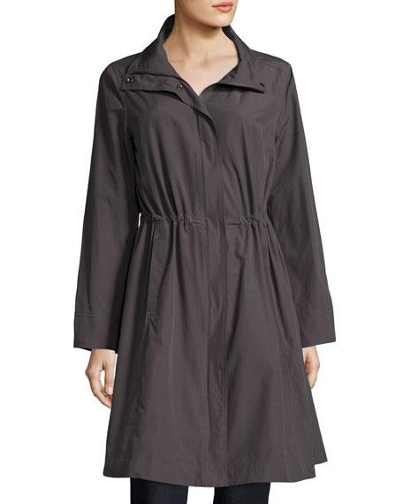 Eileen Fisher High-Collar Knee-Length Organic Cotton Jacket, Plus