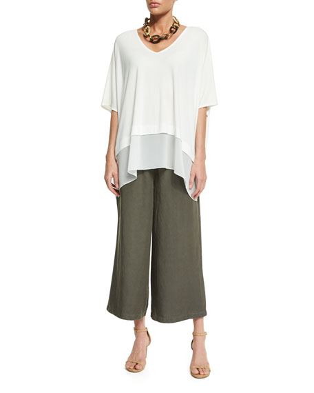 Elastic-Waist Wide Cropped Pants, Petite